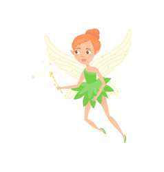 cartoon of fairy girl with magic wand vector image