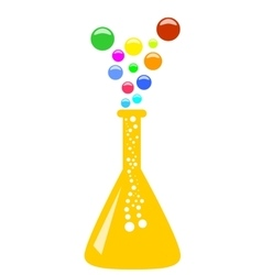 Conical chemical flask with multicolor vapor vector