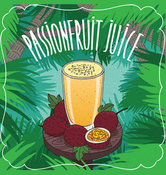 Fresh passion fruit or passionfruit juice vector