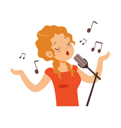 Girl singing with microphone singer character vector