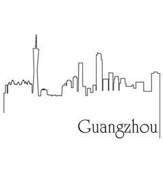 Guangzhou city one line drawing vector