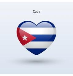 Love cuba symbol heart flag icon vector