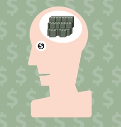 Man and money in head concept vector image vector image