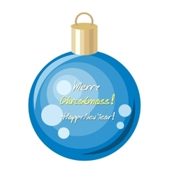 Merry christmas and happy new year blue ball vector