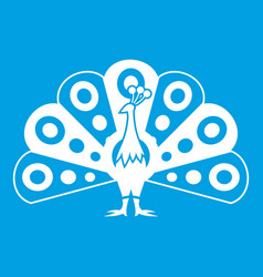 Peacock with flowing tail icon white vector