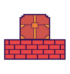 Pixelated video game treasure chest brick wall vector