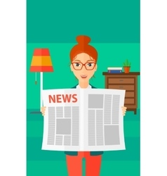 Reporter reading newspaper vector image vector image