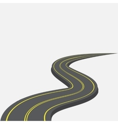 Road with yellow markings receding into the vector image