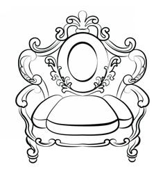 Royal armchair set in baroque rococo style vector