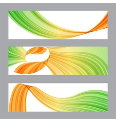 Set banners wavy shape vector