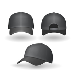 Set of realistic black baseball caps isolated vector image