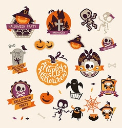 Set of Retro Vintage Happy Halloween Badges vector image