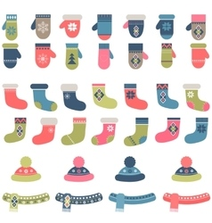 Set of winter clothing vector image