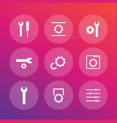 settings configuration development icons set vector image vector image
