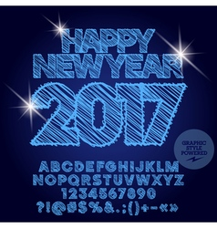 Shiny drawn happy new year 2017 greeting card vector