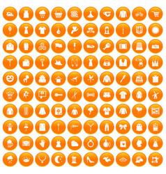 100 dress icons set orange vector