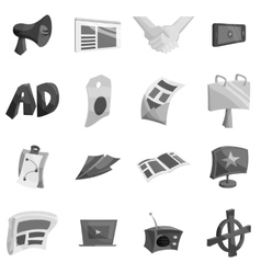 Advertisement icons set black monochrome style vector
