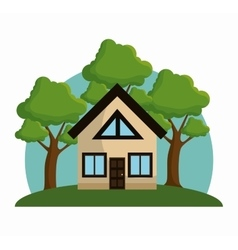 house with trees ecology icon design vector image