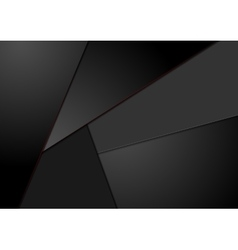 Black tech corporate background with red lines vector image