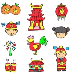Doodle of chinese celebration element vector