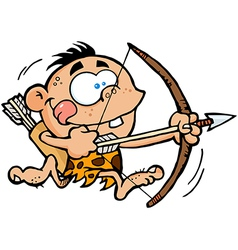 Cave boy running with bow and arrow vector