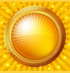 glass porthole on gold background vector image