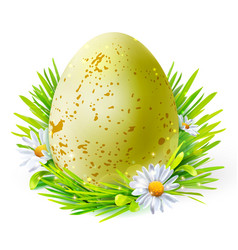 Yellow egg with spots on grass vector