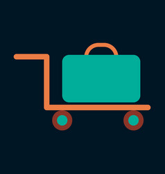 Icon in flat design for airport suitcase in cart vector