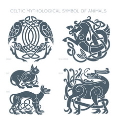 Ancient celtic mythological symbol of animals vector