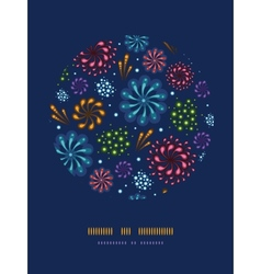 Holiday fireworks circle decor pattern background vector