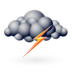 bubble cloud with lightning on white vector image