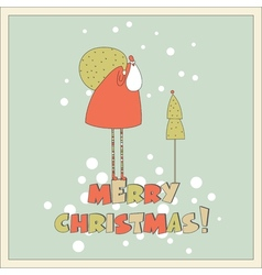 Santa in the forest Christmas card vector image