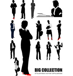 Big collection of business woman silhouettes vector