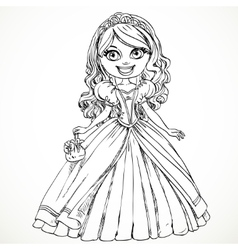 Beautiful princess in a ball gown and tiara sketch vector