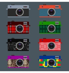 Set of retro cameras hipster style vector