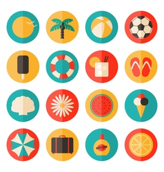 flat design long shadow summer season icon set vector image