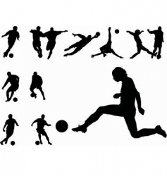 Footballers silhouettes vector