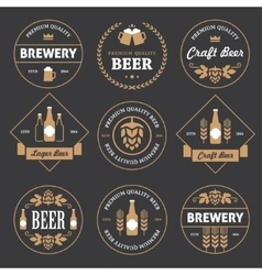 Beer emblems on black background vector