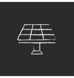 Solar panel icon drawn in chalk vector