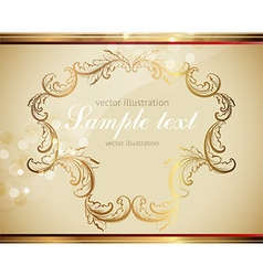 Golden leaf frame vector