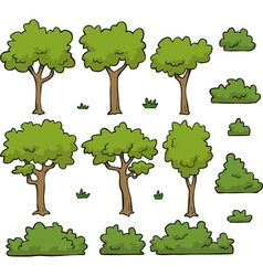 Trees and bushes set vector