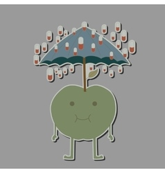 Apple with umbrella and rain tablets vector