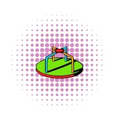 Colorful merry-go-round icon comics style vector