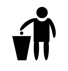 Icon silhouette of a man throwing garbage vector