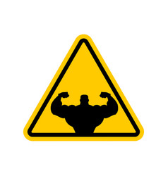 Attention bodybuilding athlete on yellow triangle vector