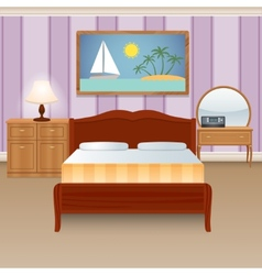 Bed room interior vector