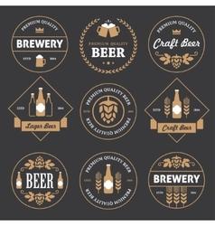 Beer emblems on black background vector image