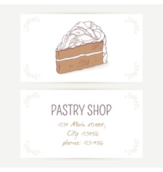 Business card template with chocolate cake vector