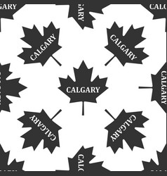 canadian maple leaf with city name calgary icon vector image vector image