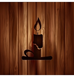 Candle web icon Wooden background vector image